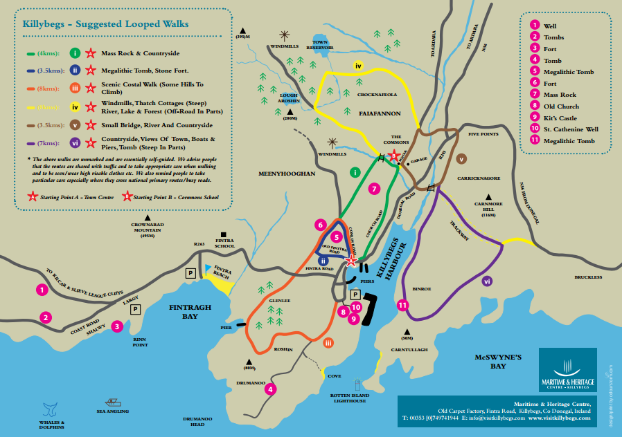 map with walking trips in killybegs. walking trips map of killybegs